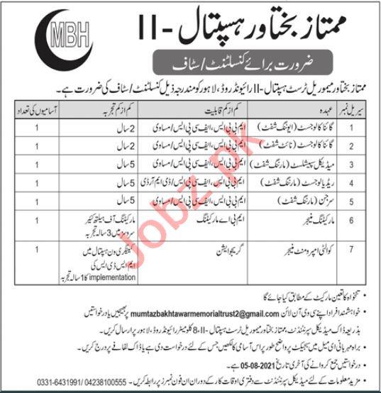 Mumtaz Bakhtawar Hospital MBH Lahore Jobs 2021 for Doctor