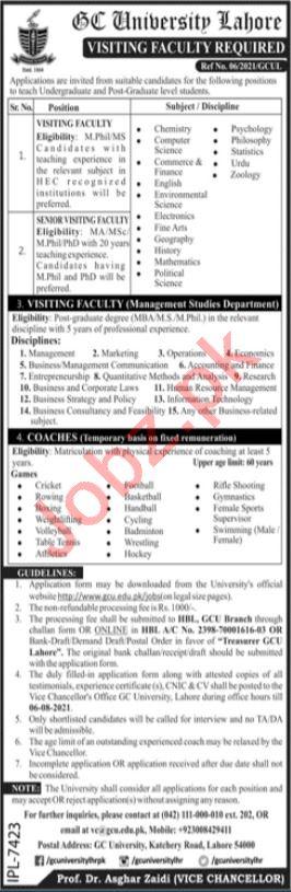 GC University Lahore Jobs 2021 for Visiting Professor