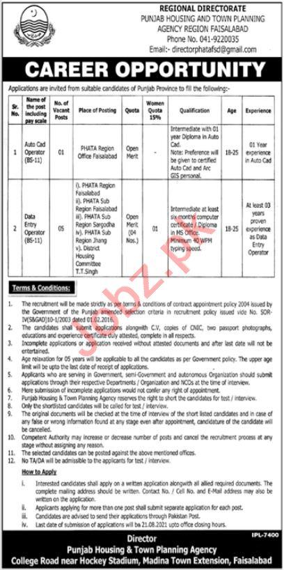 Punjab Housing & Town Planning Agency PHATA Faisalabad Jobs