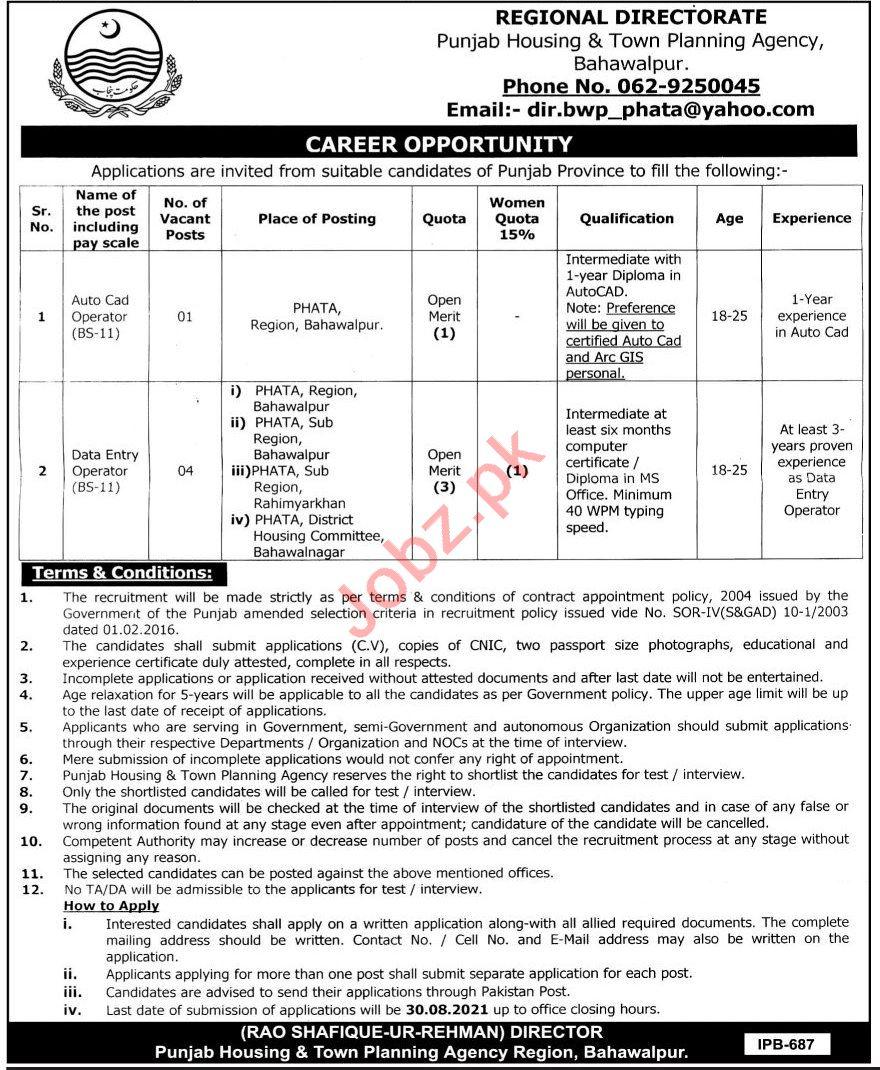 Punjab Housing & Town Planning Agency PHATA Bahawalpur Jobs