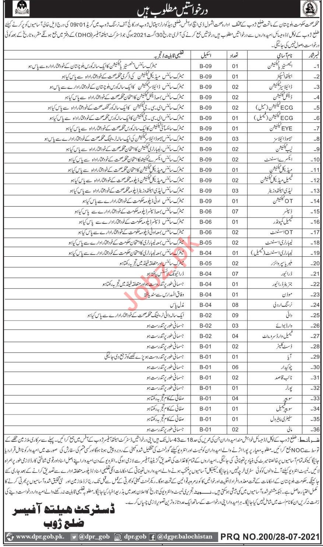 Tehsil Headquarter Hospital THQ Zhob Jobs 2021 Technicians