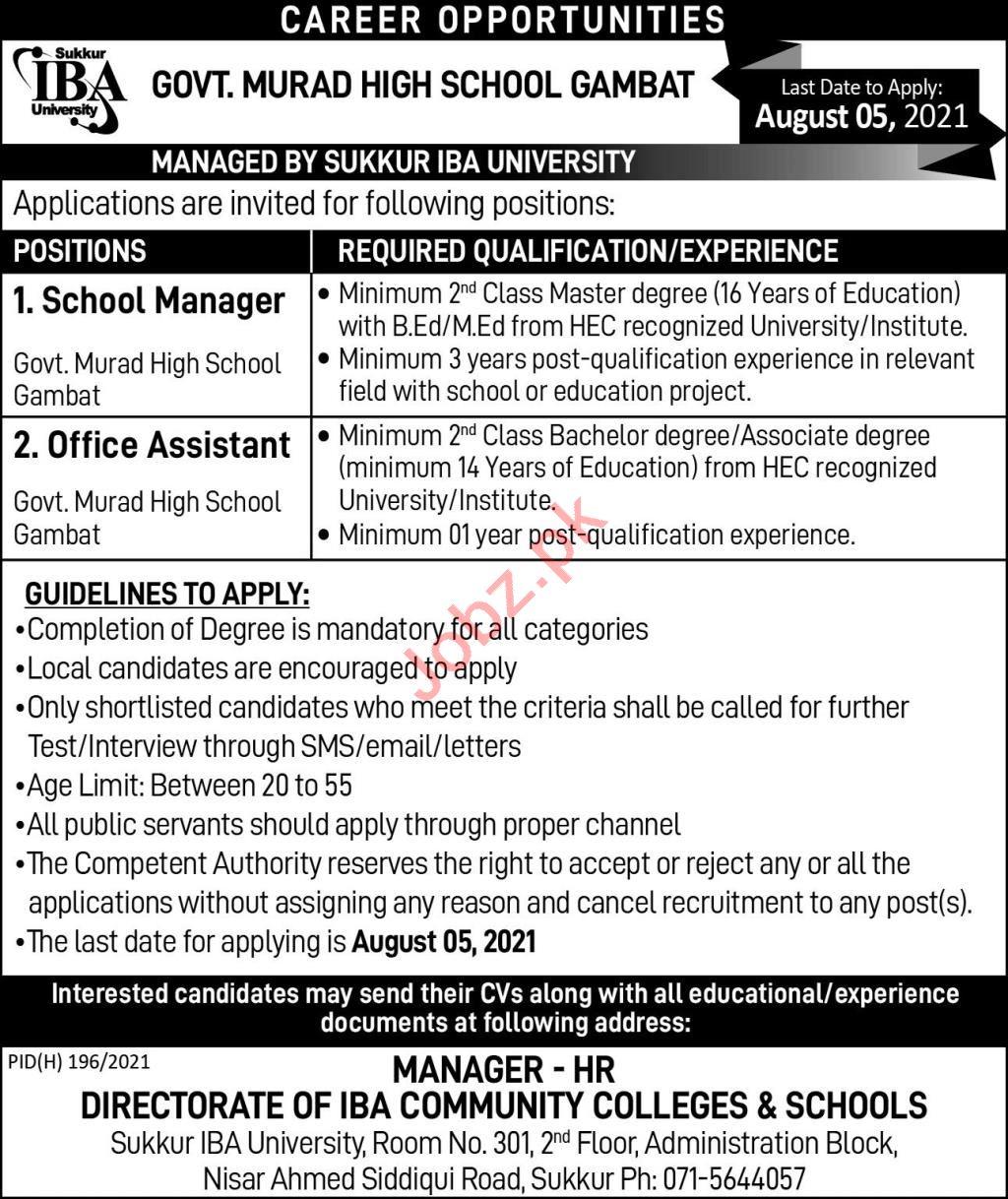 Govt Murad High School Gambat Jobs 2021 School Manager