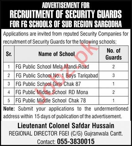 Federal Government FG Schools Sub Region Sargodha Jobs 2021
