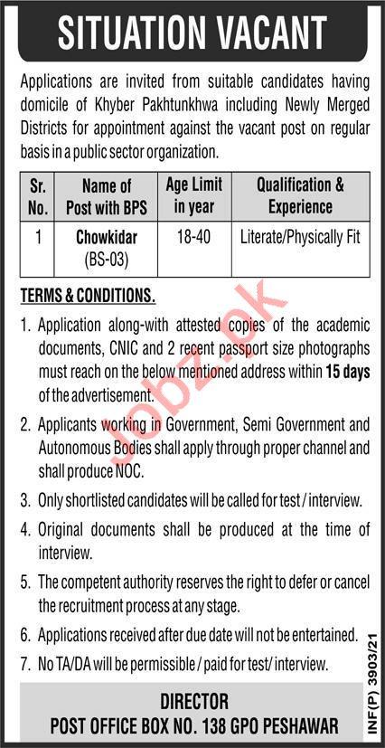 Public Sector Organization Peshawar Jobs 2021 for Chowkidar