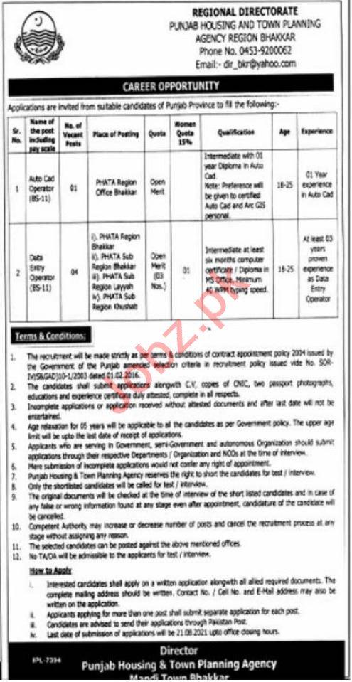 Punjab Housing & Town Planning Agency PHATA Bhakkar Jobs