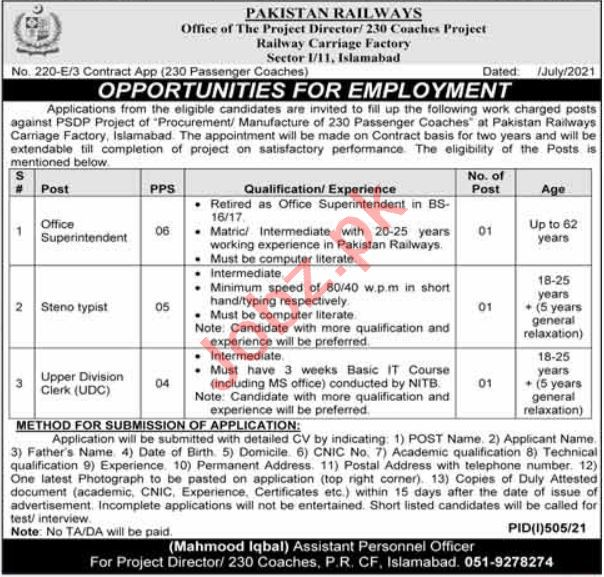 Railway Carriage Factory Islamabad Jobs 2021 for Stenotypist