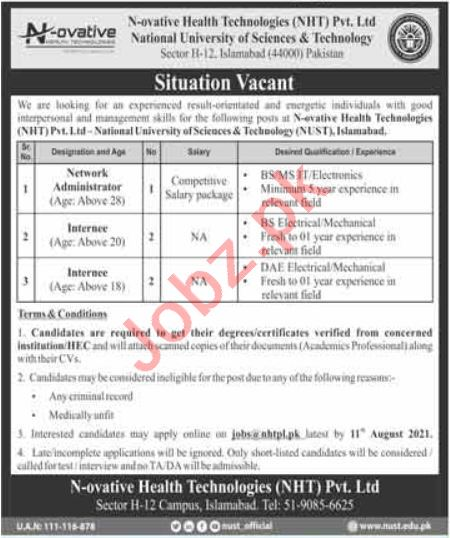 N ovative Health Technologies NHT Islamabad Jobs 2021