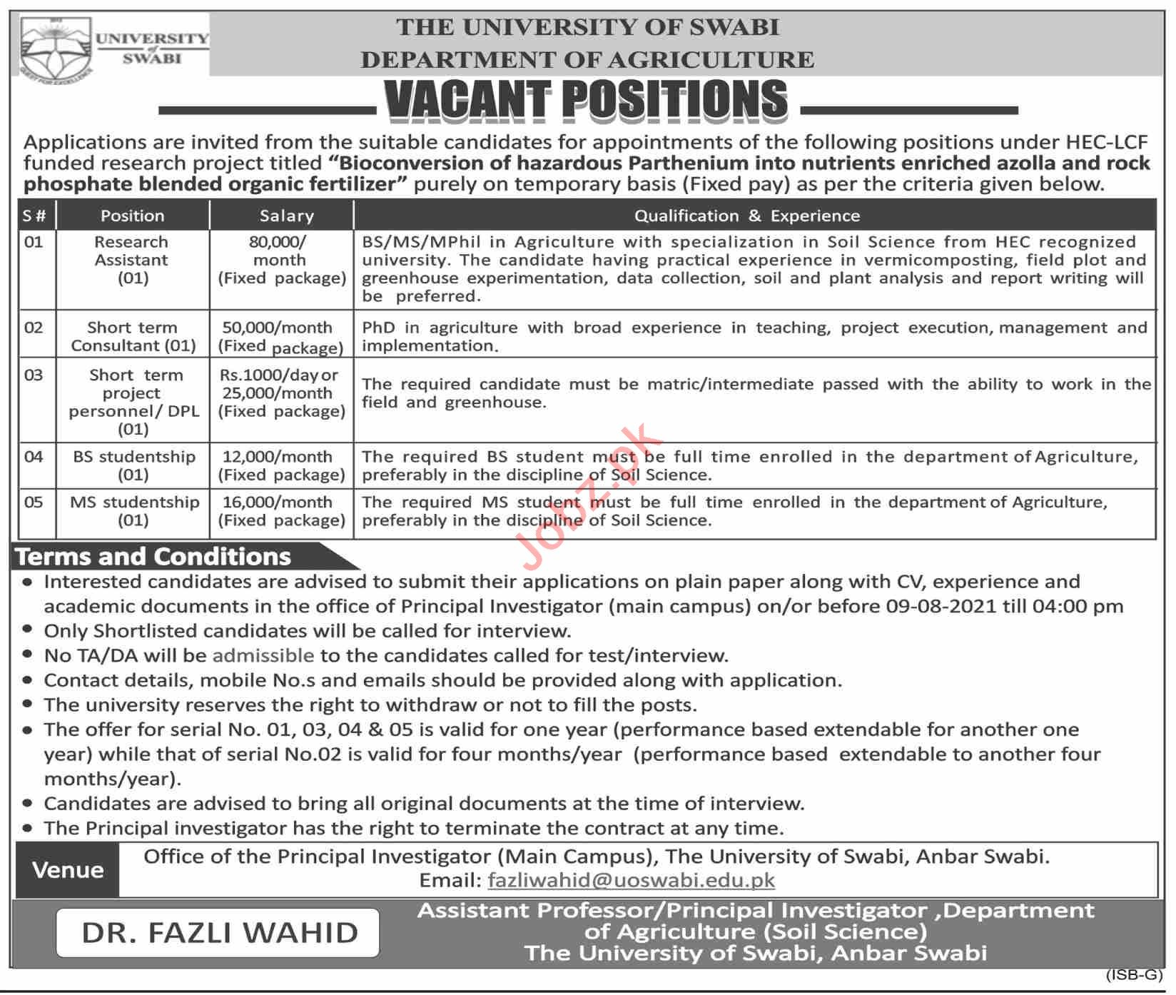 The University of Swabi Jobs 2021 for Research Assistant