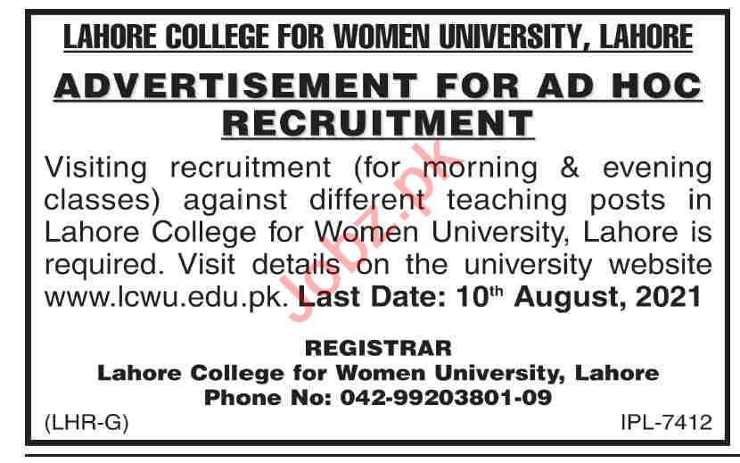 Lahore College for Women University LCWU Lahore Jobs 2021