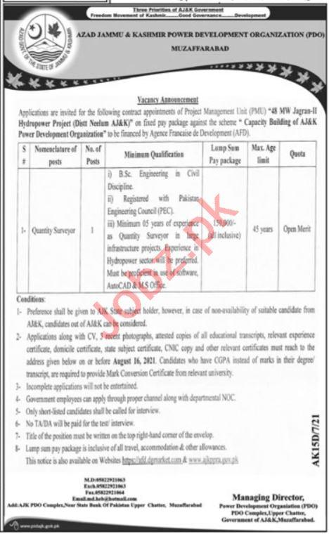 AJK Power Development Organization Muzaffarabad Jobs 2021