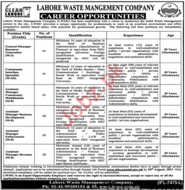 Lahore Waste Management Company Clean Lahore Jobs 2021