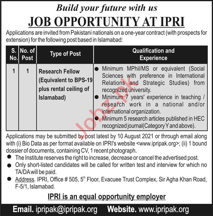 Islamabad Policy Research Institute IPRI Islamabad Jobs 2021
