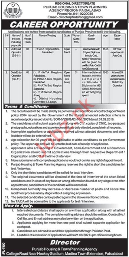 Punjab Housing & Town Planning Agency Faisalabad Jobs 2021