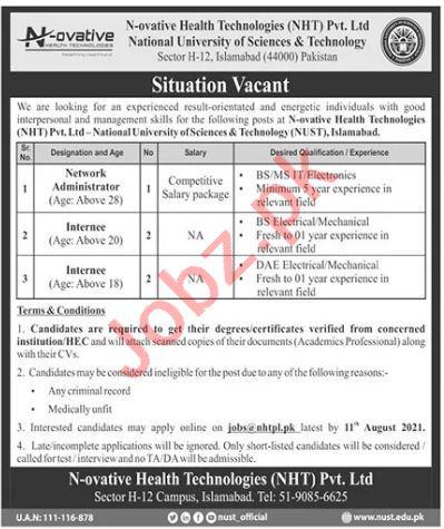 N ovative Health Technologies NHT NUST Islamabad Jobs 2021