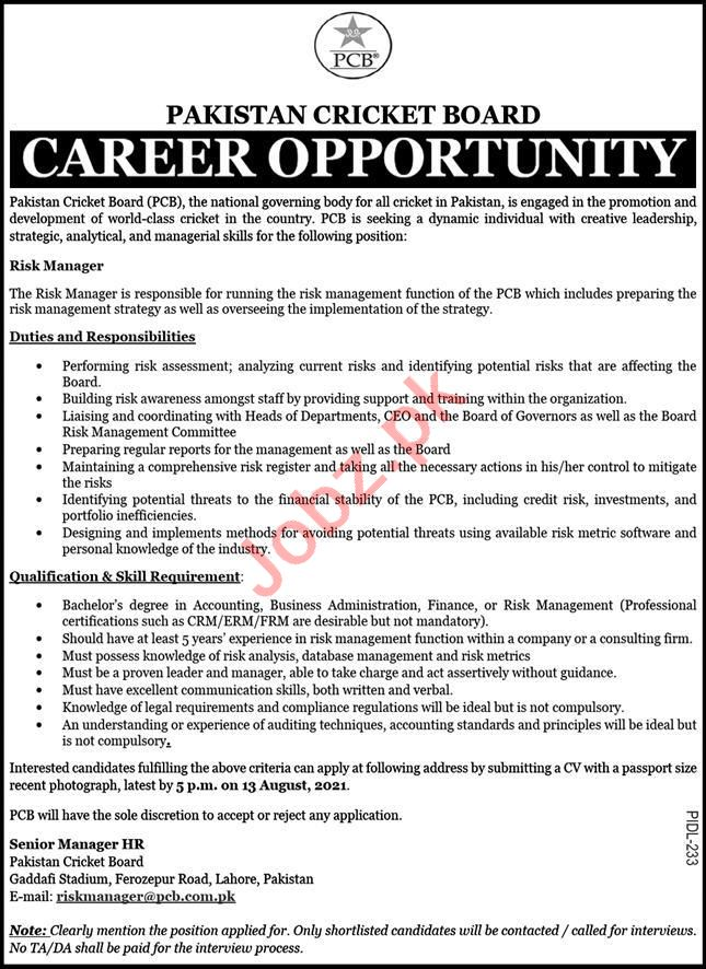 Pakistan Cricket Board PCB Jobs 2021 for Risk Manager