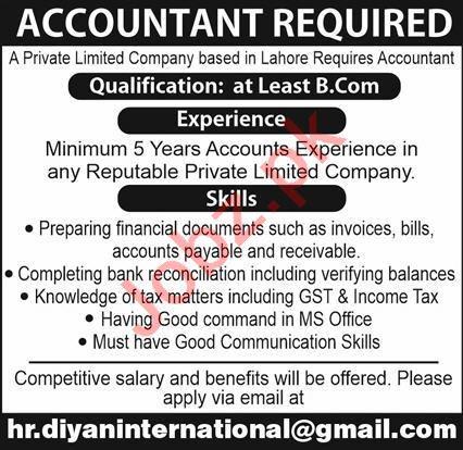 Diyan International Islamabad Jobs 2021 for Accountant