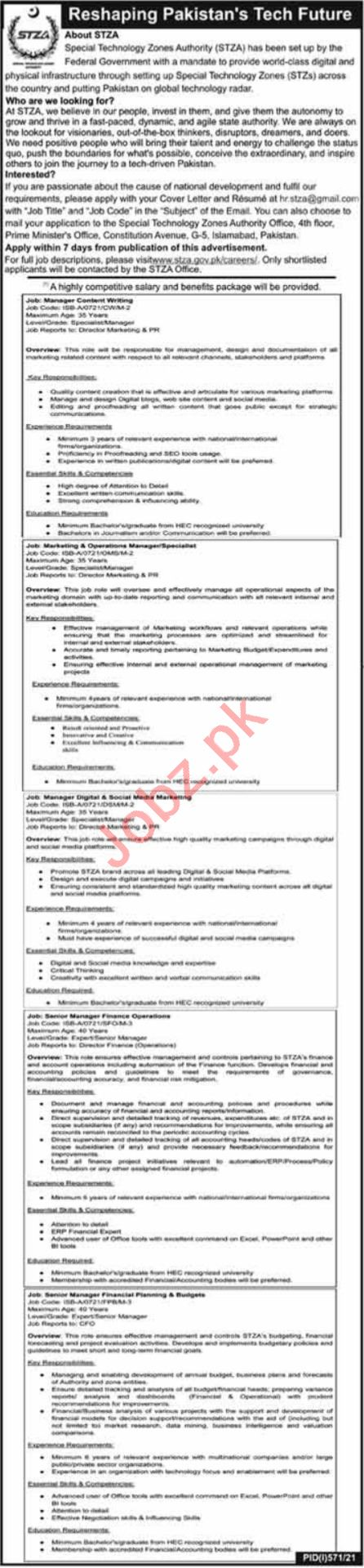 Special Technology Zones Authority STZA Islamabad Jobs 2021
