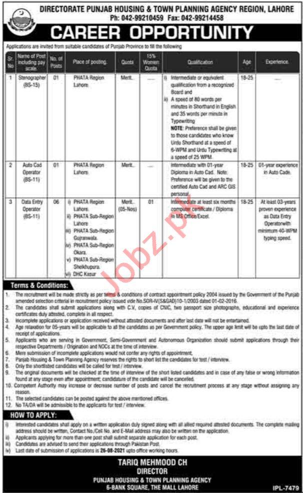 Punjab Housing & Town Planning Agency Lahore Jobs 2021