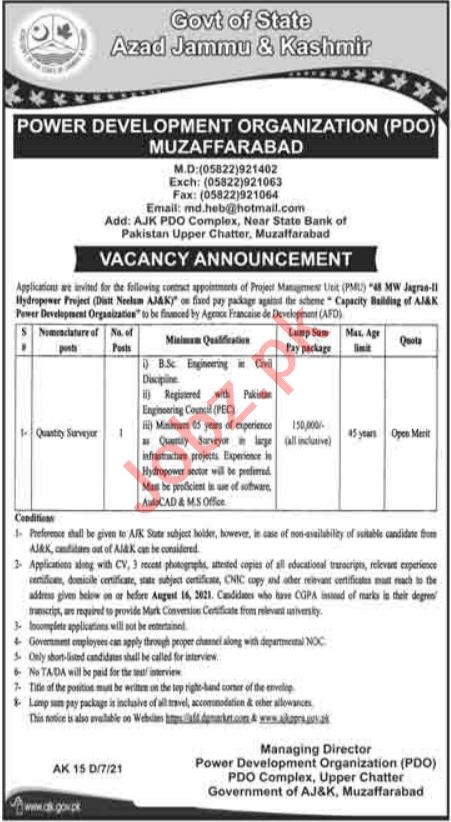 AJKPDO Power Development Organization Muzaffarabad Jobs 2021