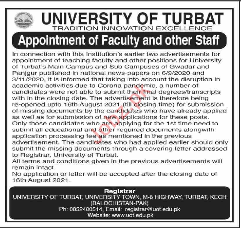 University of Turbat UOT Jobs 2021 for Professors