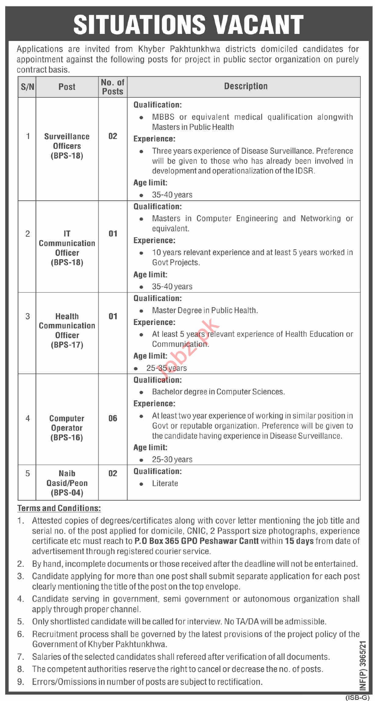 P O Box No 365 GPO Peshawar Cantt Jobs 2021
