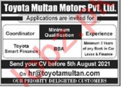 Toyota Multan Motors Multan Jobs 2021 for Coordinator