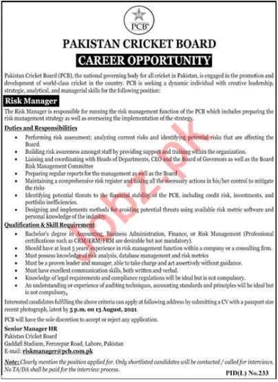 Risk Manager Jobs 2021 in Pakistan Cricket Board PCB