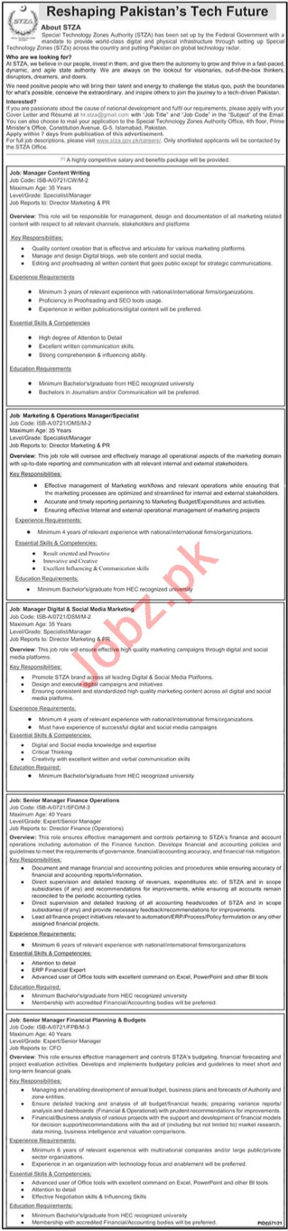 Special Technology Zones Authority STZA Jobs 2021 Manager
