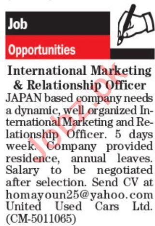 International Marketing Officer & Relationship Officer Jobs