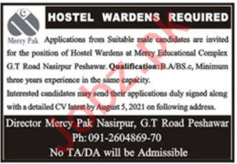 Mercy Pak School College & Vocational Institute Jobs 2021