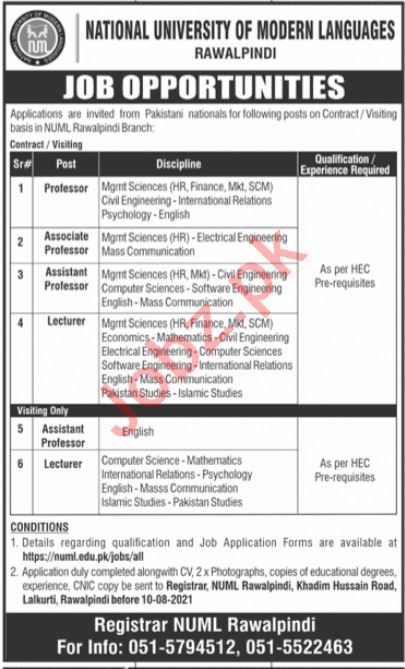NUML Rawalpindi Jobs 2021 for Professors & Lecturers