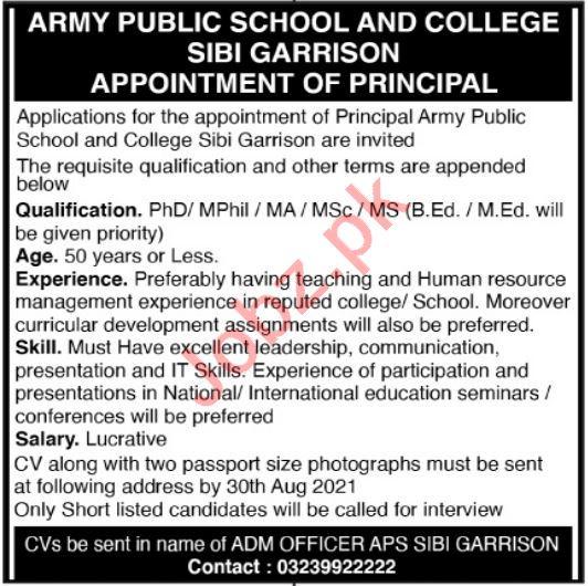 Army Public School & College Sibi Garrison Jobs 2021