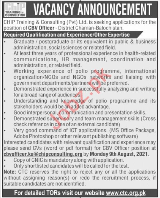 CHIP Training & Consulting CTC Chaman Balochistan Jobs 2021
