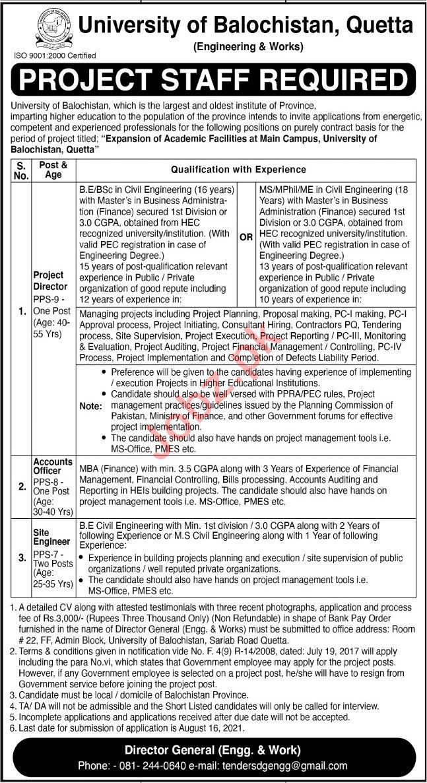 University of Balochistan UOB Quetta Jobs 2021 for Director