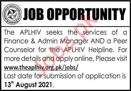 Association Of People Living With HIV APLHIV Jobs 2021