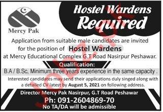 Mercy Pak School College Peshawar Jobs 2021 Hostel Wardens
