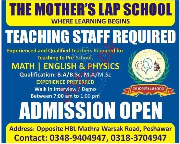 The Mothers Lap School Peshawar Jobs 2021 for Teachers
