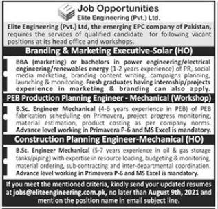 Elite Engineering Pvt Limited Jobs 2021 In Lahore