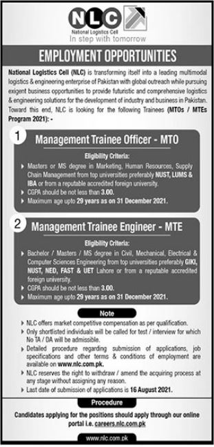 National Logistics Cell NLC Jobs 2021 In Islamabad