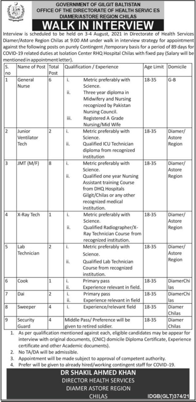 Director Health Services Jobs 2021 in Gilgit Baltistan