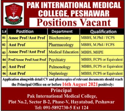 Pak International Medical College Faculty Jobs 2021