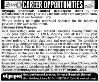 National Sales Manager Job 2021 In Lahore