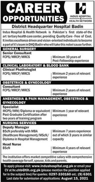 District Headquarter Hospital Badin Jobs 2021