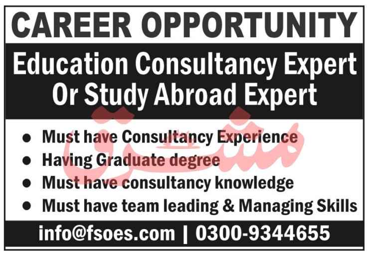 Education Consultancy Expert Jobs in Future Serve Overseas