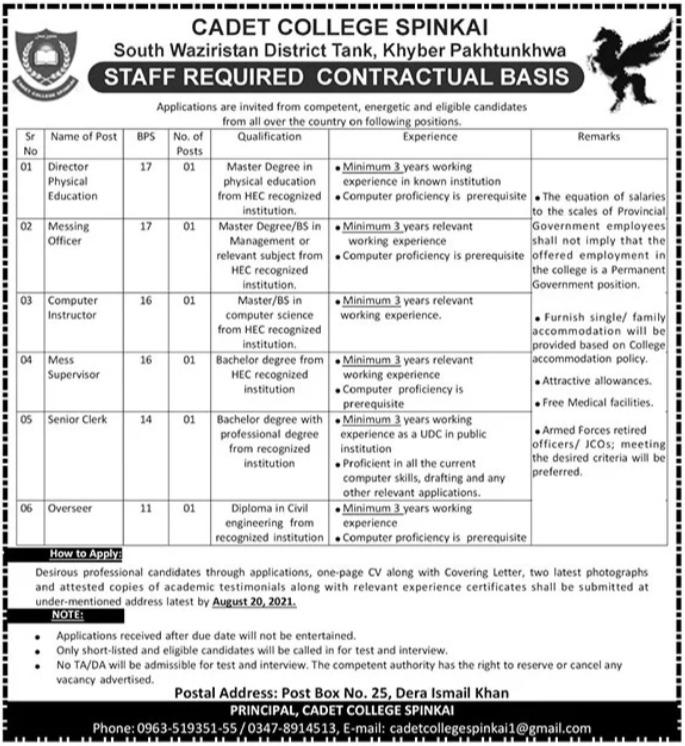 Pak Army Cadet College Spinkai Jobs 2021