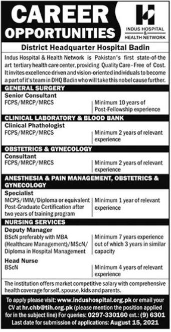 District Headquarter Hospital Jobs 2021 For Medical Staff