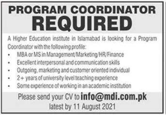 Management Development Institute MDI Job 2021 In Islamabad