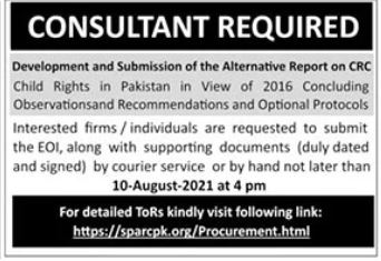 Sparc Pakistan NGO Job 2021 For Consultant