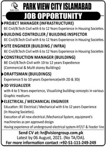 Park View City Islamabad Jobs 2021 For Management Staff