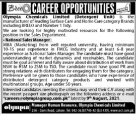 Oly,pia Chemical Limited Jobs 2021 in Lahore